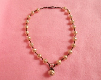 Beautiful Ivory Pearl with Clear Quartz  with Pearl Pendant Necklace