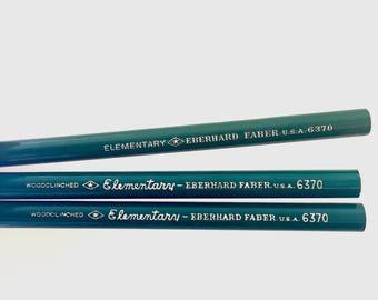 Vintage Pencil Lot - Vintage Eberhard Faber Pencils - Vintage Pencil Decor - Vintage School Decor - Elementary 6370 Woodclinched Pencil