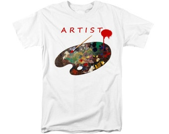 ARTIST's Palette T-shirt, Uni-Sex Clothing, Wearable Art, Gift For Men Women Painters, Red Typography, Contemporary Design, White Shirt