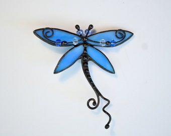 Stained Glass Brooch, Seaglass Dragonfly Brooch, Sea Glass Broach, Blue Dragonfly, Art Decor Brooche, Handmade Jewelry, Dragonfly Pin
