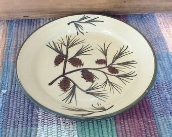 Handmade pottery dessert plate - Woodlands green ceramic small plate - kitchen food prep - snack plate - pine boughs pottery - pcpl617