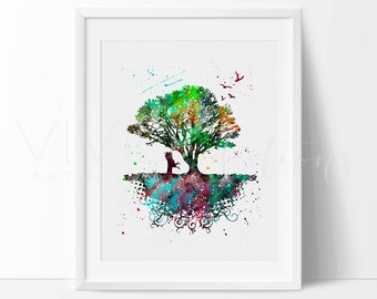 Tree Print, Tree Roots Nature Modern Nursery Art Print Wall Decor, Birds Watercolor Painting, Wall Art, Home Decor, Buy 2 Get 1 Free, No. 30