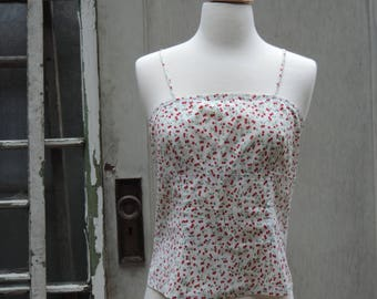 Vintage Crop Top Red Cherry Pattern featuring Spaghetti Straps Zip at bottom Back