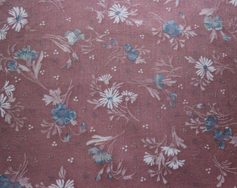 28 X 19 Blue and White on Rose Floral Cotton Poly Fabric Remnant