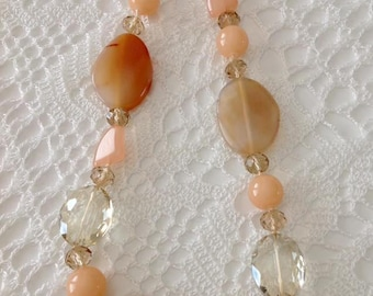 Agate peach necklace, handmade necklace, agate necklace, for her, for you