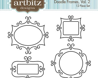 Doodle Digital Frames, Vol. 2, Set of 12, No. 20007 Clip Art Kit, 300 dpi .jpg and .png