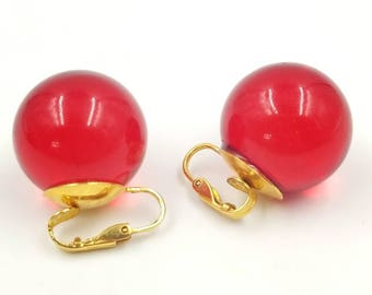 Red Lucite Bubble Earrings, Big Ball Lucite Earrings, Mod Earrings, Clip On Lucite Earrings