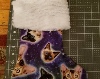 Space cat holiday Christmas stocking