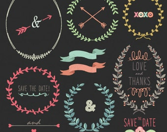 """Chalkboard Laurels clipart pack """"CHALKBOARD LAURELS""""clip art,Wreaths,Laurels clipart,Wedding  for scrapbooking,Small Commercial Use Wd027"""