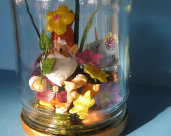 """MY Garden"""",  miniature Gnome in a good luck pickle jar with posies in pots for your window sill."""