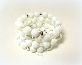 Pristine - A White and Silver Beaded Memory Wire Bracelet - White Bracelet - White Beaded Bracelet