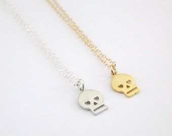Tiny Skull Necklace Sterling Silver Chain
