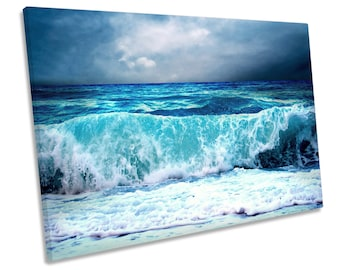 Stormy Beach Wave Seascape Blue CANVAS WALL ART Framed Picture Print