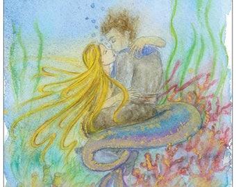 Mermaid and sailor  postcard