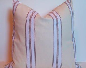 Farmhouse Pillow Grain Sack Pillow Brown Ticking Pillow Cover Brown Grainsack Pillow 0