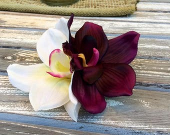 Orchids, white and eggplant, tropical silk flower hair clip