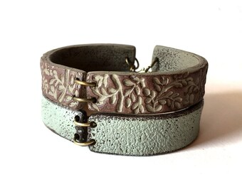 Textured Bracelet, Concrete and Brown, Modern Cuff Bracelet, Gray, Cement, Foliage, Patterned, Earthy tones, Territorial Beige
