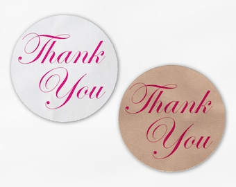 Thank You in Hot Pink Wedding Favor Stickers - Custom White Or Kraft Round Labels for Bag Seals, Envelopes, Mason Jars (2002)