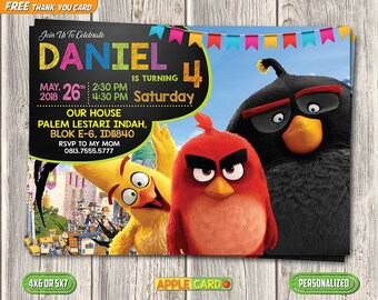Angry Bird Birthday Invitation, Angry Bird Printable Invitation, Angry Bird Digital Invite, Boy Invitation, FREE Angry Bird Invitation
