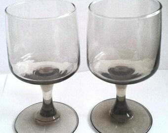 Vintage Pair Of Hand Blown Smoky Grey Crystal Wine Stemmed Glasses
