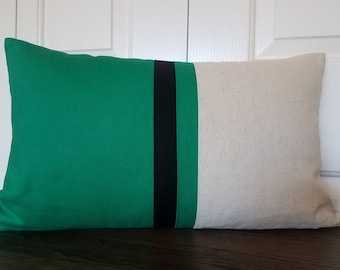 Green Color Block Pillow Linen Pillow Modern Home Decor Linen Colorblock Pillow Decorative Pillow Throw Pillow Minimal Home Decor Pillows