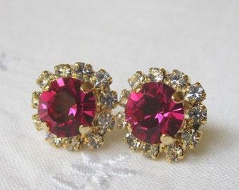 Hot Pink Swarovski crystal post earrings, Gold post earrings, Crystal earrings, Swarovski stud earrings, Bridal earrings, Bridesmaid gift
