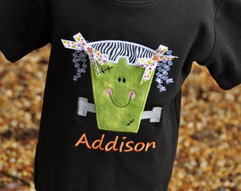 Personalized Frankenstein Girl Halloween Shirt with Bows