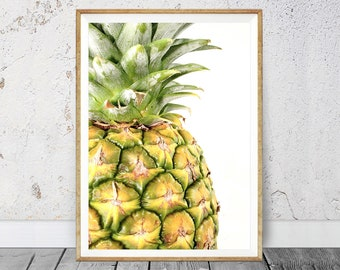 Tropical Fruit Print, Printable Pineapple, Pineapple Print, Pineapple Wall Art, Kitchen Decor, Kitchen Wall Art, Pineapple Poster