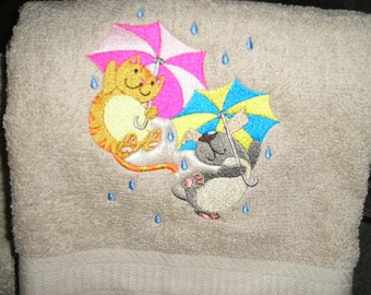 6 piece Bath Towel SET- Raining Cats & Dogs - for spring april showers  Embroidered