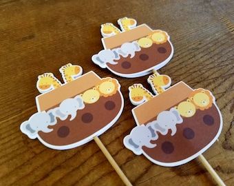 Noah's Ark Party - Set of 12 Double Sided Cupcake Toppers by The Birthday House