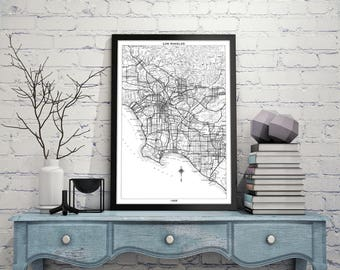 LOS ANGELES Map Print, Black and White Los Angeles Wall Decor