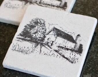 Farmhouse Marble Coaster/ Farmhouse Coasters/ Farmhouse Kitchen/ Farmhouse decor/Stamped Tumbled Marble Coaster/Marble Coaster/Birthday Gift