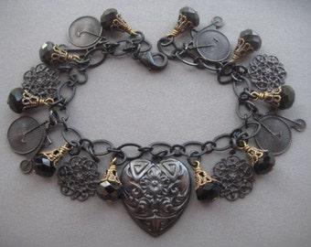 Neo Victorian Bracelet - Penny Farthing Jewelry - Steampunk Bracelet - Victorian Charm Bracelet - Black Beaded Bracelet - Bicycle Jewelry