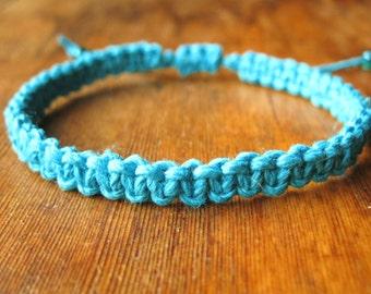 Macrame Hemp Bracelet, Turquoise Blue Woven Knot Friendship Bracelet
