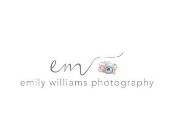 Photography Logo and Watermark, Initials Handwritten Calligraphy Script Font Camera Logo Design 201