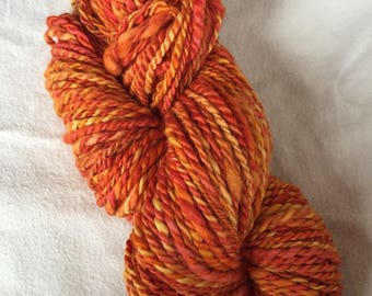 Hand Spun BFL Wool / Bright Orange Hand Dyed Thick and Thin Worsted weight+ 118 yds 4oz
