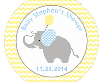 Personalized Baby Shower Labels Elephant With Balloon Chevron Polkadot Heart Houndstooth - 100 GLOSSY 2 Inch Round Stickers