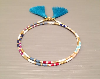 Beaded African Bracelet Tassel bracelet Wrap Seed Bead Bracelet bead Tassel jewelry Seed Bead Wrap bracelet