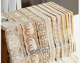16 types Cotton Lace Fabric Trim 0.6-12.5CM- Beige Cream Floral Crochet Cotton Net Lace Ribbon Trim-- 1 Yard