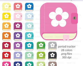 Period Tracker App Icon Digital Clipart in Rainbow Colors - Instant download PNG files