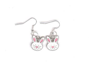 Easter bunny earrings, Easter, rabbit, white bunny, white, pink, silver, charms, charm earrings, add a bead, customize,
