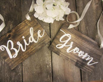 Rustic bride and groom signs, bride and groom chair signs, wedding chair signs, hanging mr and mrs signs, sweetheart table signs, wedding
