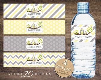 Instant Download Yellow Owl Baby Shower Water Bottle Labels, Printable Yellow Grey Owl Bottle Labels, Gender Neutral Owl Water Labels 23G