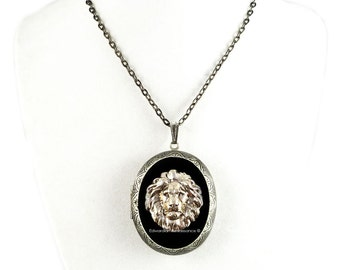 Pill Box Locket Lion Head Inlaid in Hand Painted Glossy Black Onyx Enamel Necklace Neo Victorian Leo Custom Colors and Personalized Options