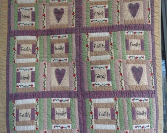 Vintage Handmade Quilt, Faith Family Friends Love Bedcover, Quilted Wall Hanging, Friendship Quilt, Cottage Bungalow Country Decor