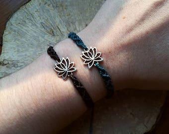 Silver lotus bracelet size adjustable Macrame silver lotus bracelet