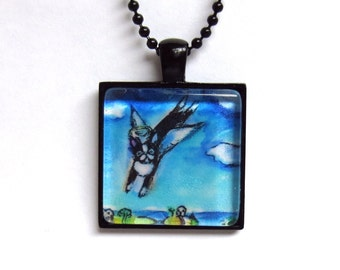 Boston Terrier Angel Jewelry painting Art Glass Tile Pendant Necklace