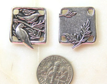 TierraCast Small  Botoanical Birds Pendant Links, Focal Pendant, Double Sided Pendant Charms, Antiqued Silver Plate, 2 Pieces, 2012
