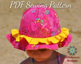 Sun Hat Pattern, PDF Sewing Pattern, Beach Hat Pattern, Child Hat Pattern, Baby Hat Pattern, Toddler Hat Pattern, Hat Sewing Pattern