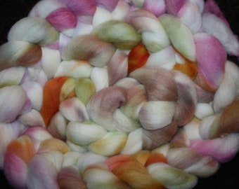 """8 oz.""""ButterBelle"""" Targee Hand dyed combed top Wool Roving"""